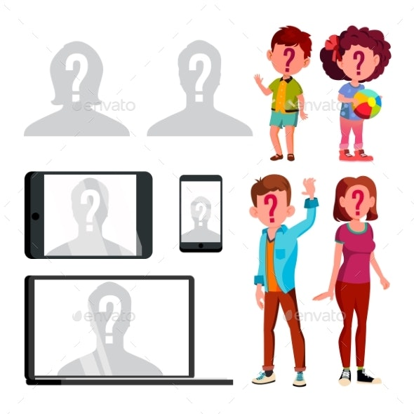 Anonymous Silhouette And Unknown Person Set Vector - People Characters