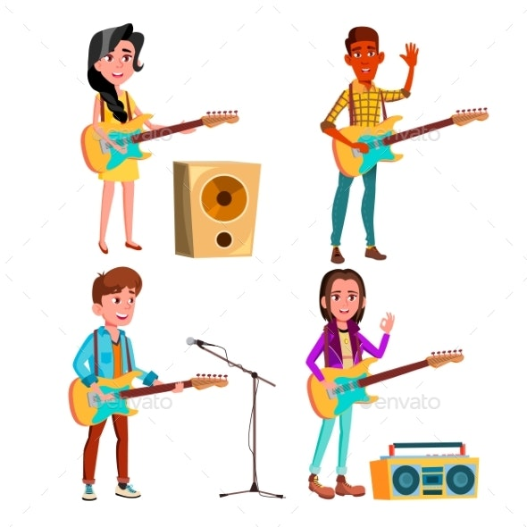 Character Guitarist Playing On Instrument Vector - People Characters
