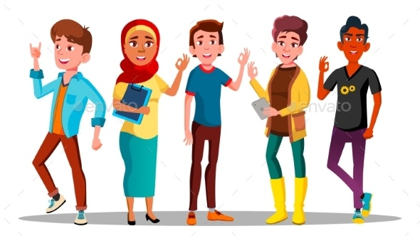 Mulicultural Characters People Satisfied Vector - People Characters