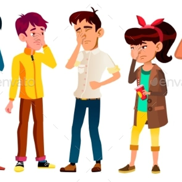 Ashamed Teenagers With Gesture Facepalm Set Vector