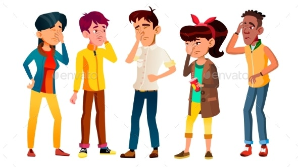 Ashamed Teenagers With Gesture Facepalm Set Vector - People Characters