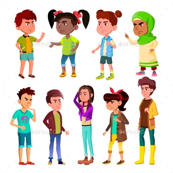 Character Children And Teenager Blowout Set Vector - People Characters