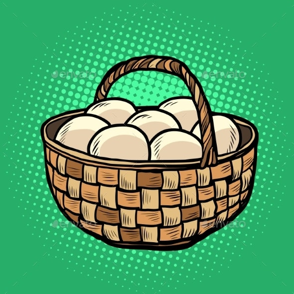 Egg Basket. Farm Products - Food Objects
