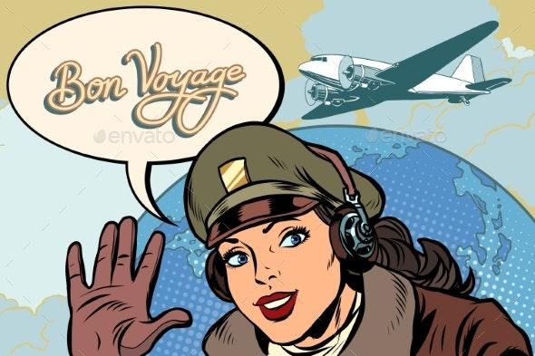 Bon Voyage Girl Woman Retro Aviator Pilot - People Characters