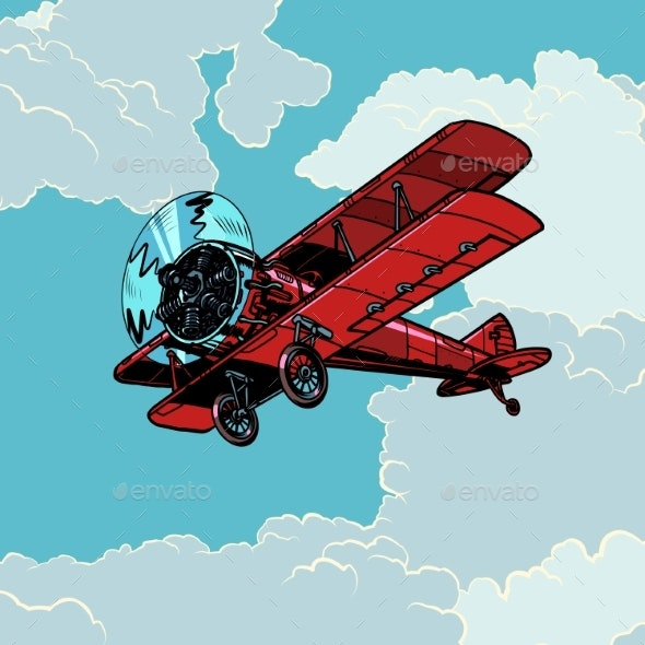 Retro Biplane Plane Flying in the Clouds - Man-made Objects Objects