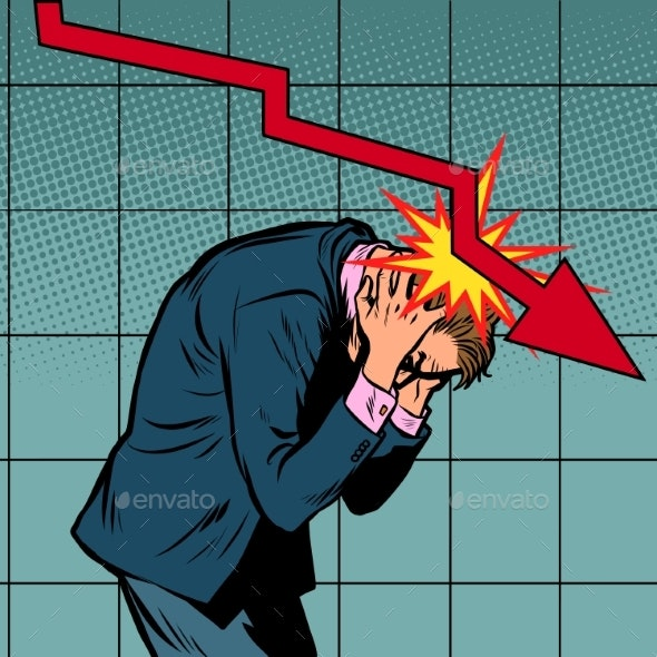 Businessman Panic, the Fall of Shares and Income - Business Conceptual