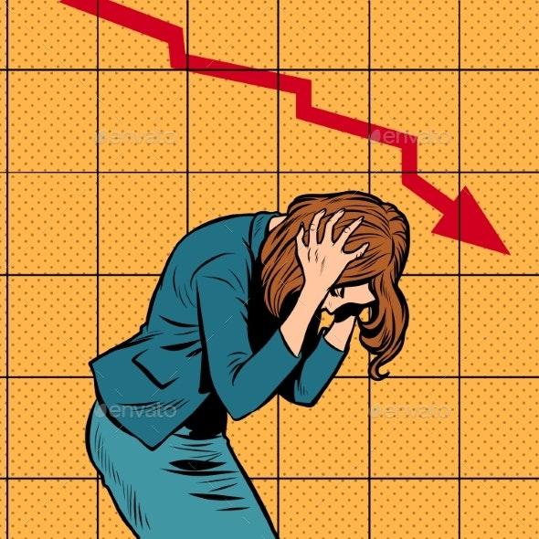 Businesswoman Woman Panic, Bankruptcy Financial - Business Conceptual