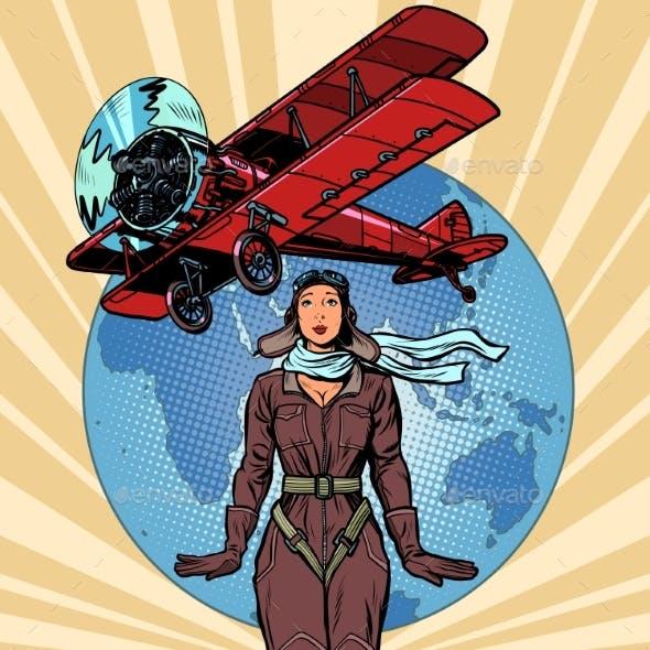 Woman Pilot of a Vintage Biplane Airplane