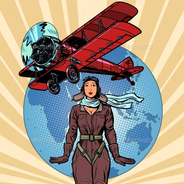 Woman Pilot of a Vintage Biplane Airplane - People Characters