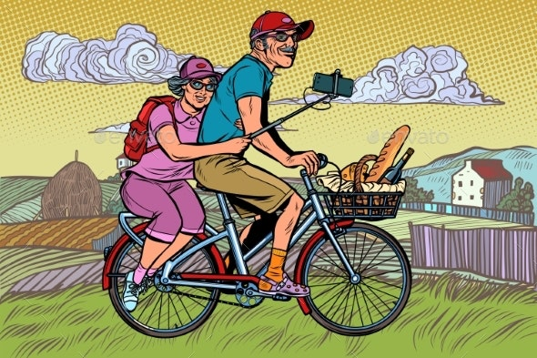 Old Man and Old Lady Travelers on Bike - People Characters