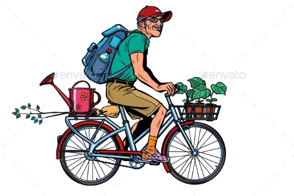 Gardener Old Cottager on the Bike - People Characters