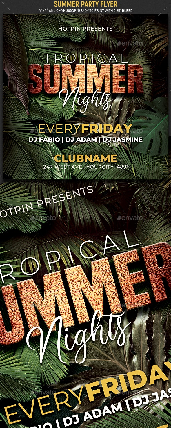 Tropical Summer Party Flyer - Events Flyers