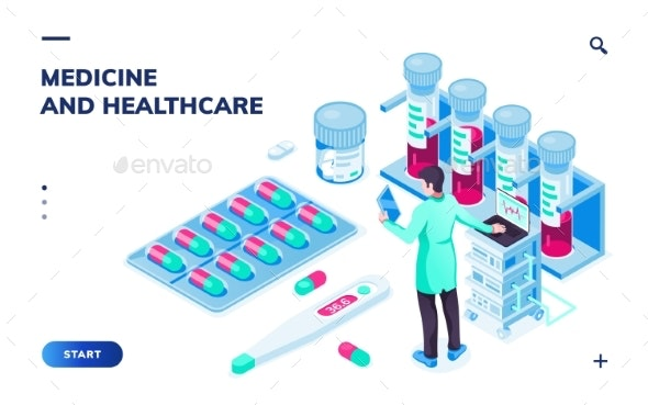 Doctor with Tablet or Pharmacist Near Pills - Health/Medicine Conceptual