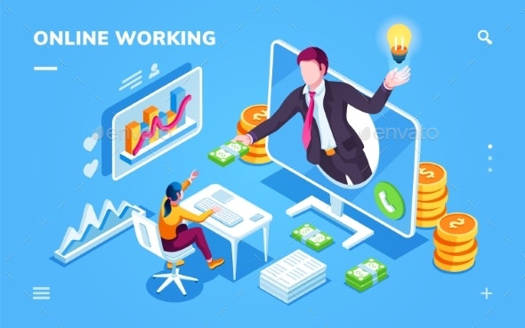 Isometric Freelancer or Outsource Worker Office - Business Conceptual