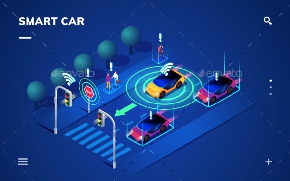 Driverless or Self Driving Car at Road, Automobile - Technology Conceptual