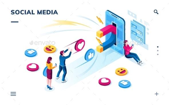 Social Media Users. Followers Sharing Content - Miscellaneous Vectors