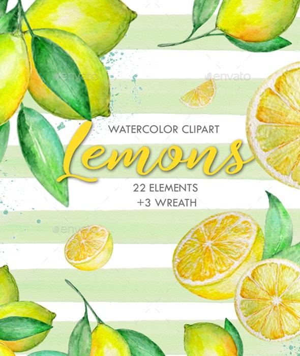 Watercolor Lemon Clipart, Tropical Fruit - Illustrations Graphics