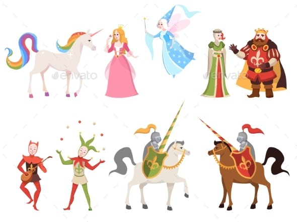 Fairy Tales Characters. Wizard Knight Queen King - People Characters