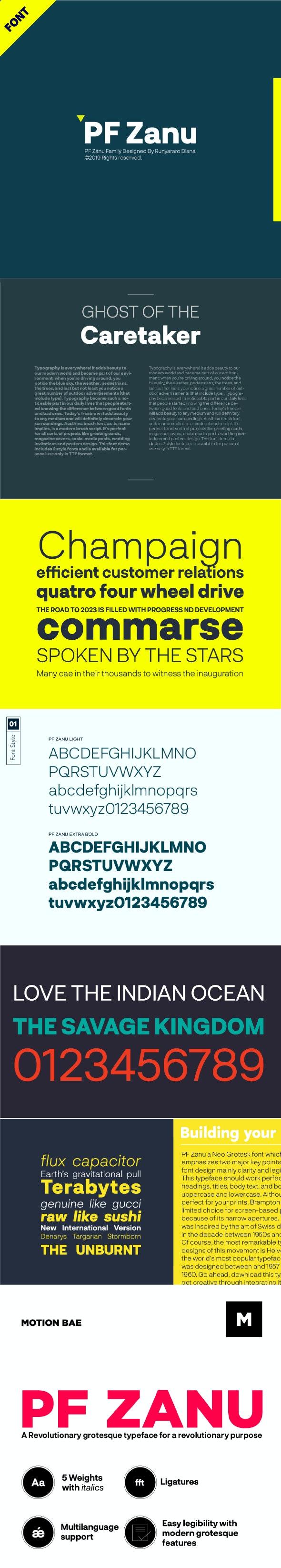 PF Zanu Font - Miscellaneous Sans-Serif