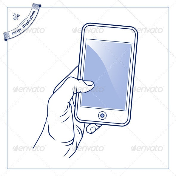 Hand Hold The Mobile Device - Media Technology
