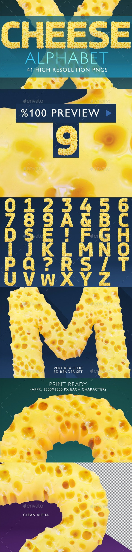 Cheese Alphabet 3D Render Set - Text 3D Renders