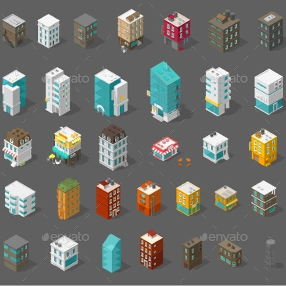 Buildings City Set Isometric Top View