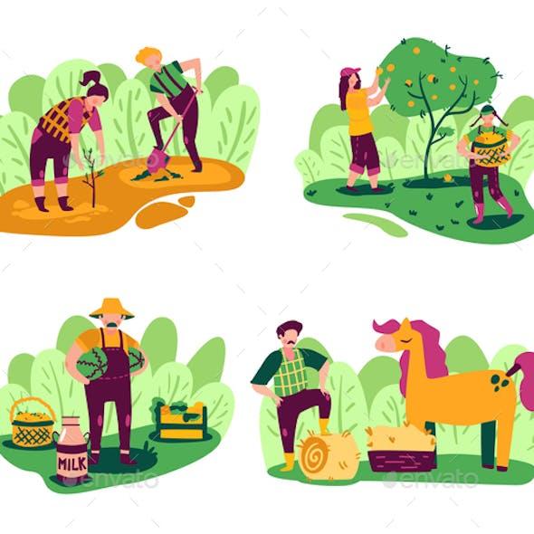 Farming Doodle Compositions Set