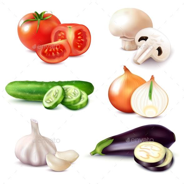 Realistic Vegetable Slices Set - Miscellaneous Vectors