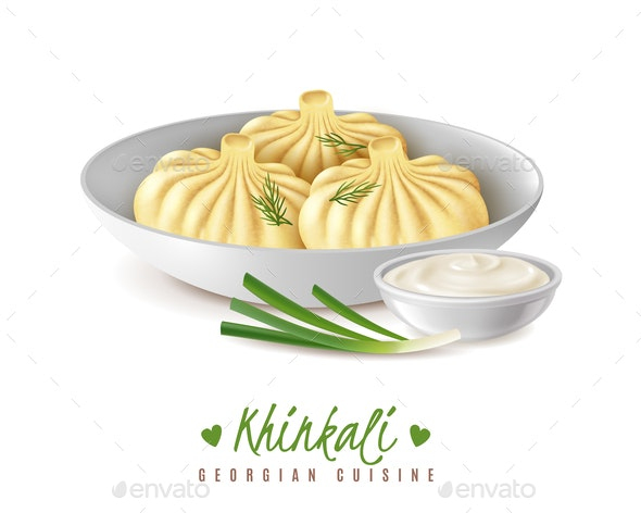 Khinkali Gourmet Food Composition - Food Objects