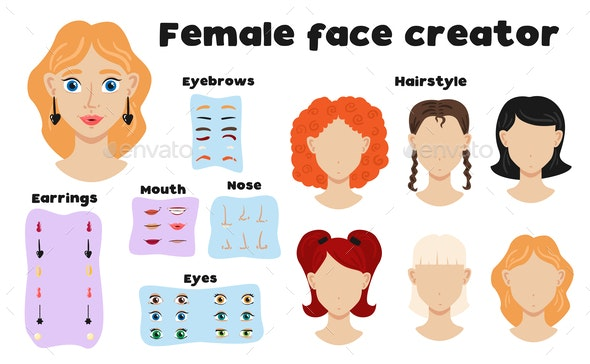 Female Face Constructor Set - Miscellaneous Vectors