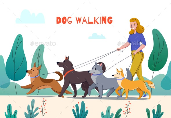 Outdoor Dog Walking Composition - Animals Characters
