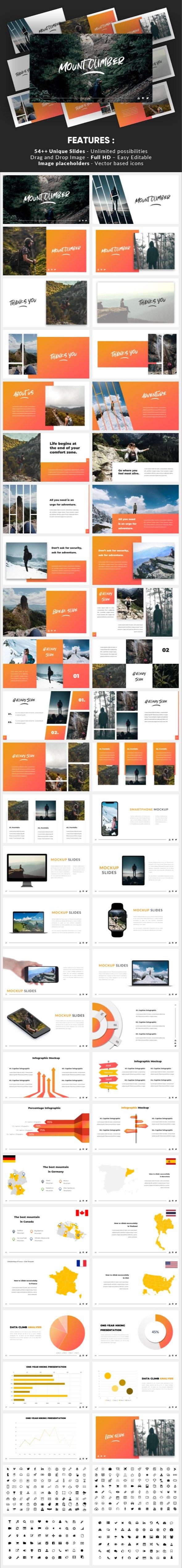 Mountclimb - Traveling Vacation Powerpoint Template - Business PowerPoint Templates