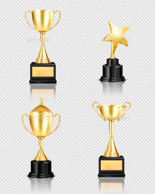 Trophy Awards Realistic Set - Miscellaneous Vectors