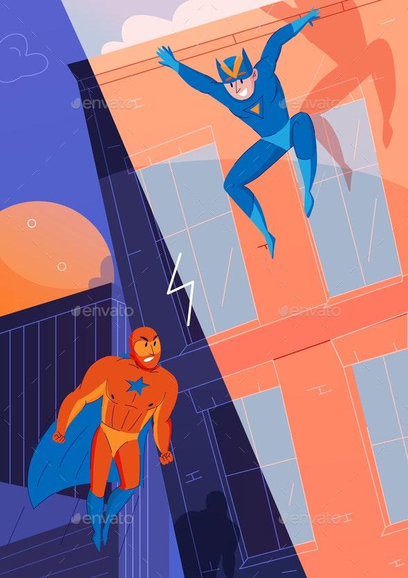 Superheroes Fight Comics - Miscellaneous Vectors