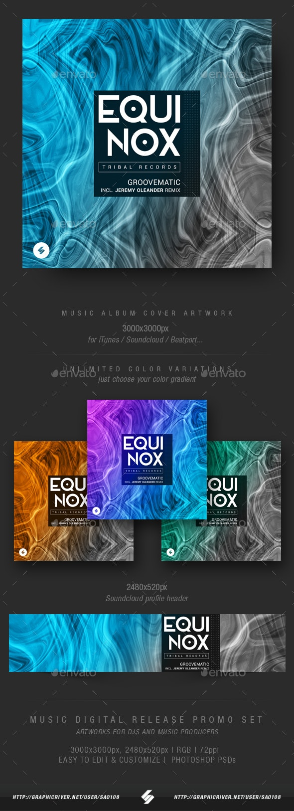Equinox - Electronic Music Album Cover Artwork Template - Miscellaneous Social Media