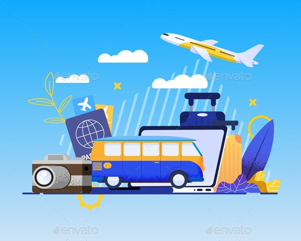 Online Booking Service for Best Summer Vacation - Travel Conceptual