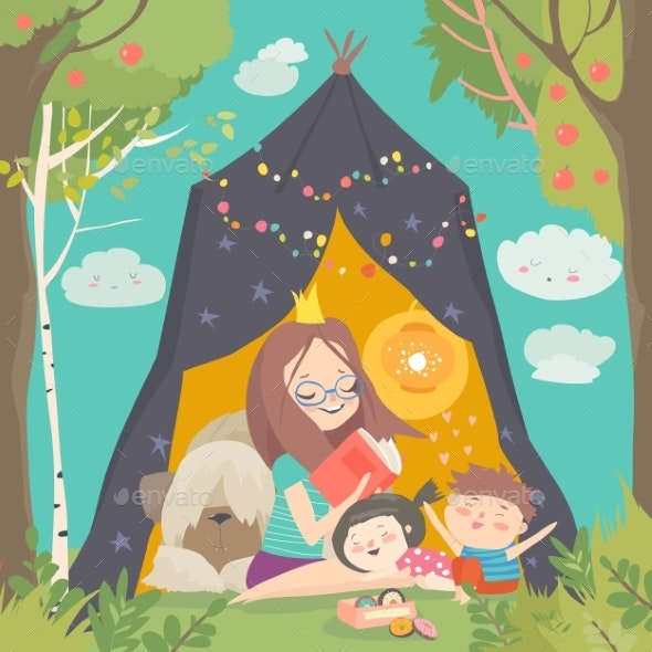 Mum and Her Kids Reading Book in a Tepee Tent - People Characters