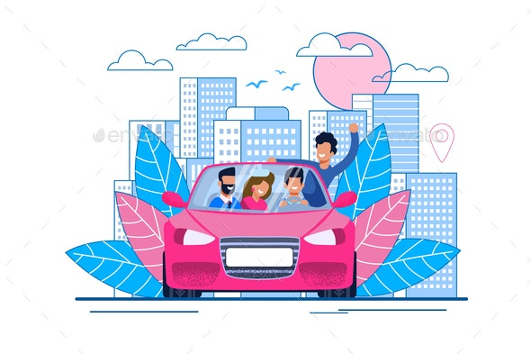 Happy Cartoon Smiling Friends Traveling by Car - Miscellaneous Vectors