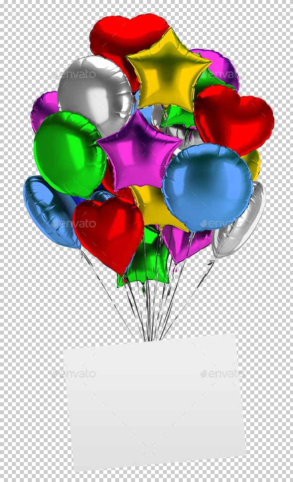 Bunch of Balloons with an Empty Board - Objects 3D Renders