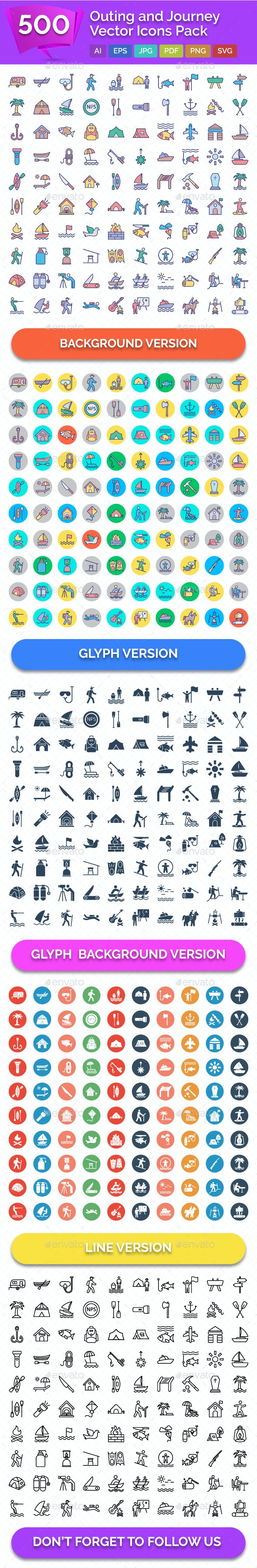500 Outing and Journey Vector Icons - Icons