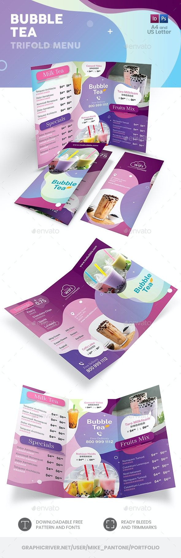 Bubble Tea Trifold Menu 3 - Food Menus Print Templates