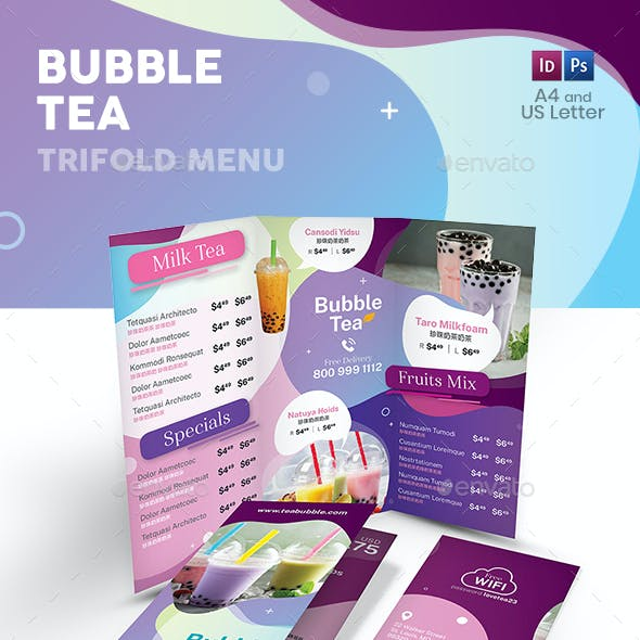 Bubble Tea Trifold Menu 3