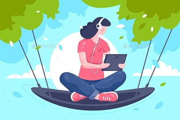 Flat Young Girl with Tablet, Headphones at Hammock - Computers Technology