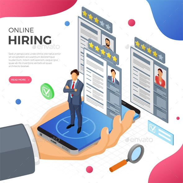 Online Isometric Employment and Hiring Concept - Web Technology