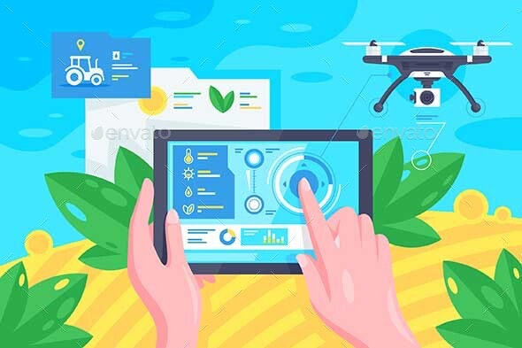 Flat Hand with Tablet Drone - Communications Technology