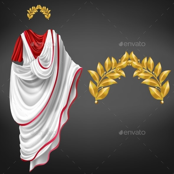 Roman Toga Golden Laurel Wreath Realistic Vector - Man-made Objects Objects