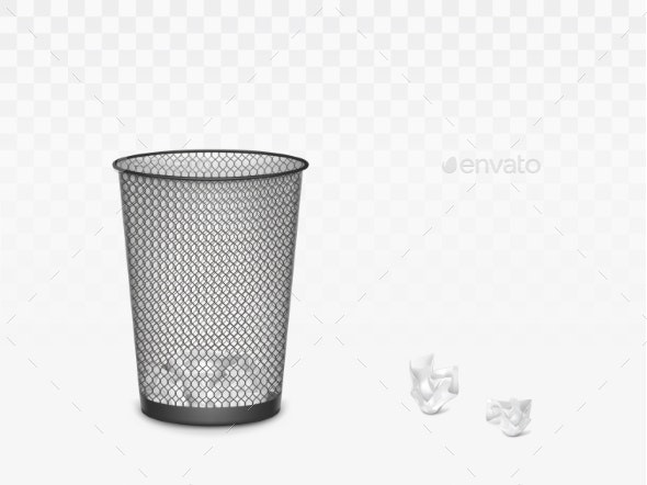 Trash Can with Crumpled Paper Inside and Around - Man-made Objects Objects