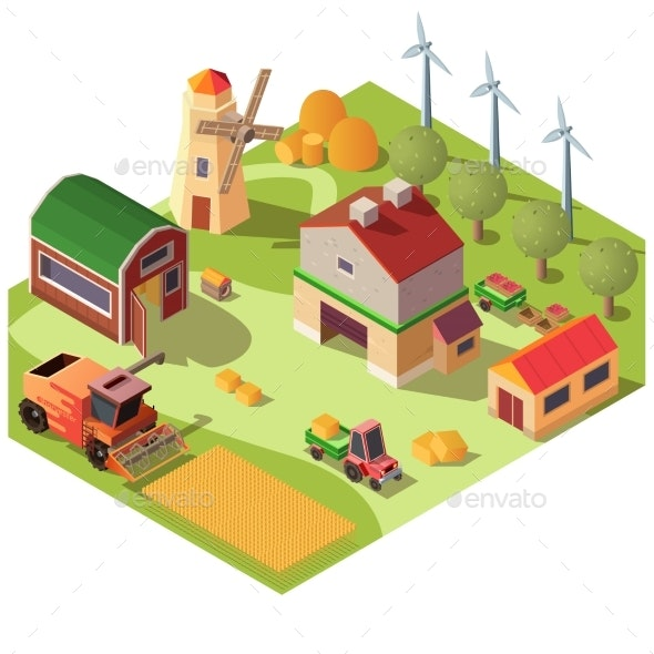 Farmyard with Buildings and Machines Vector - Buildings Objects