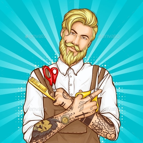 Barbershop Haircutter Pop Art Vector Portrait - People Characters