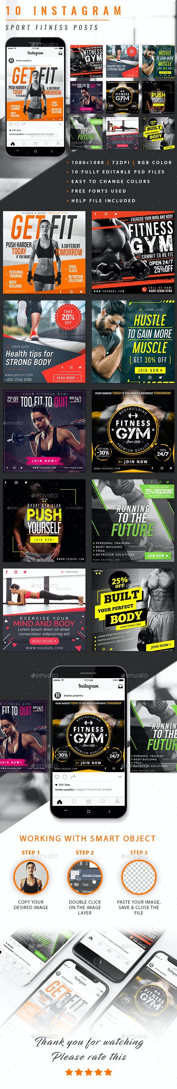 Instagram Sport Fitness Posts - Social Media Web Elements